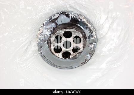 Basin drain, running water, large detailed horizontal closeup - Stock Photo