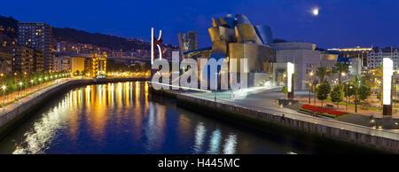Spain, Basque country, Bilbao, Guggenheim Museum, dusk, - Stock Photo