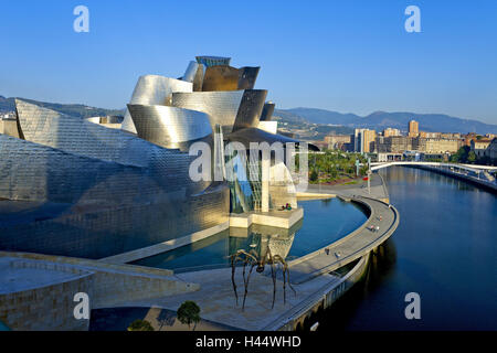 Spain, Basque country, Bilbao, Guggenheim Museum, evening light, north Spain, museum, museum building, structure, - Stock Photo