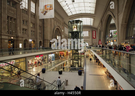 Germany, Saxony, Leipzig, central station, shopping centre, town, city, destination, railway station, shopping, - Stock Photo