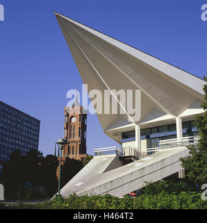 Germany, Berlin middle, red city hall, television tower, input, detail, Europe, Berlin, town, capital, city centre, - Stock Photo