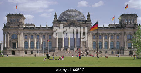 Germany, Berlin, district Berlin-Tiergarten, Reichstag, meadow, tourists, Europe, city, capital, Reichstag building, - Stock Photo