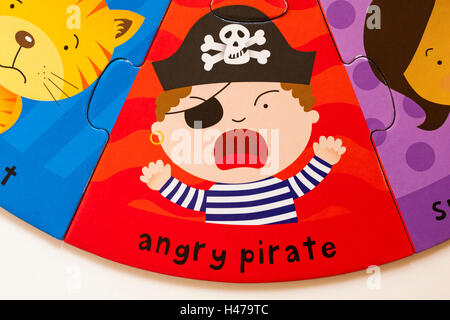 Angry pirate, part of ELC Funny Faces puzzle made from forest friendly cardboard - Stock Photo