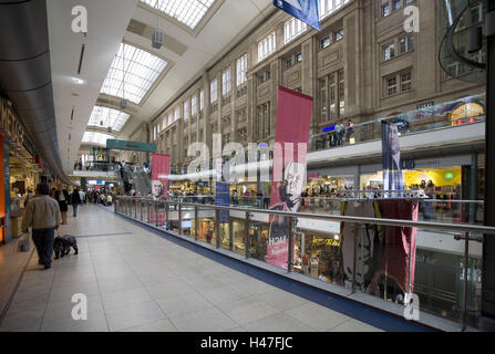 Shopping centre in the Leipzig central station, - Stock Photo
