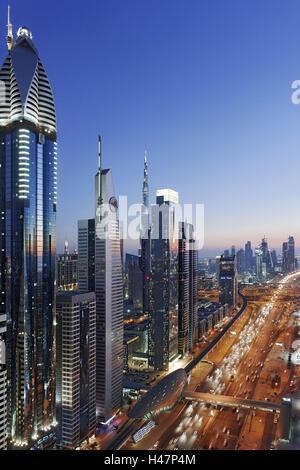 Downtown Dubai, panorama, skyline, evening mood at the Persian Gulf, traffic, metropolis, Sheik Zayed Road, Dubai, - Stock Photo