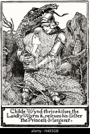 Page 195 illustration in English Fairy Tales - Stock Photo