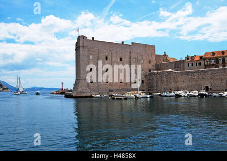 Medieval walls of Dubrovnik Old City on the Adriatic Sea in Croatia - Stock Photo