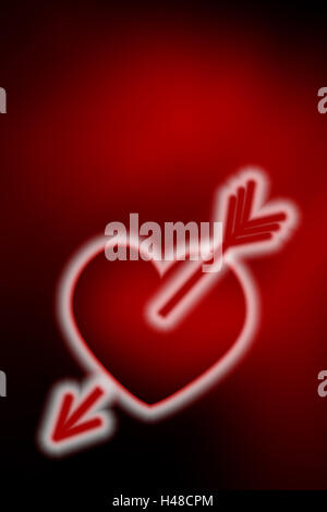 Neon heart, graphics, arrow, - Stock Photo