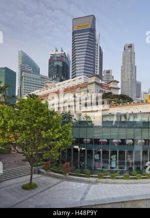 Fullerton hotel, Financial District, Marina Bay, Singapore, - Stock Photo