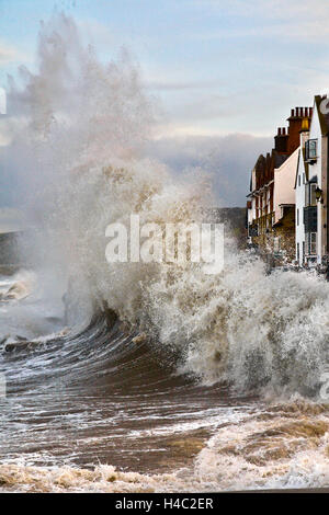 Storm surge and wave reflection wall at Sandside, Whitby, Yorkshire, UK - Stock Photo
