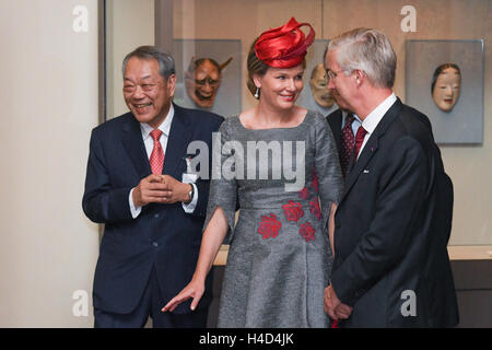 King Philippe - Filip of Belgium and Queen Mathilde of Belgium pictured during a royal visit to the Tokugawa Art - Stock Photo
