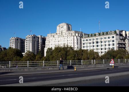 View towards Shell-Mex House from Waterloo Bridge, London, UK - Stock Photo