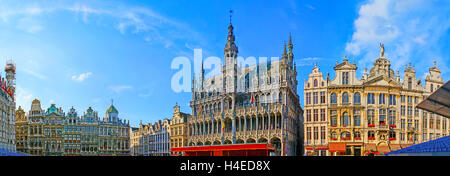 The Grand Place is famous for its splendor buildings with stone, bronze and golden decorations, fretwork, sculptures - Stock Photo