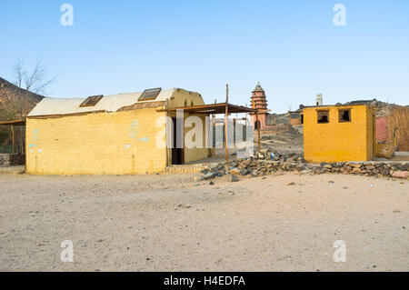 The tiny colorful buildings of the old Bedouin village in Sahara, Egypt. - Stock Photo