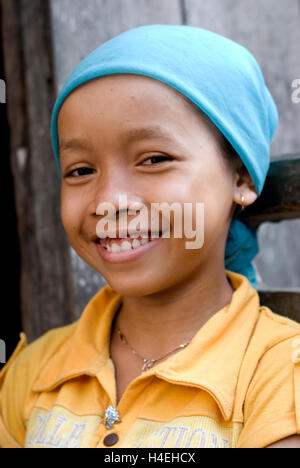 Cambodia, Kompong Cham, girl in Cham village - Stockfoto