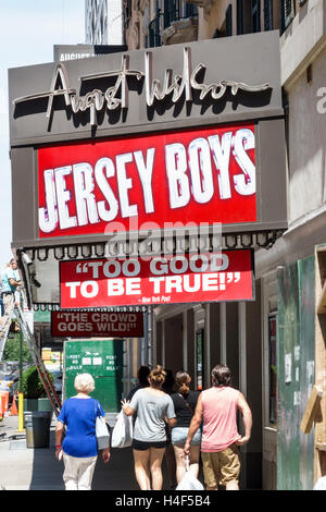 Manhattan New York City NYC NY Midtown Broadway theater district August Wilson Theatre Jersey Boys musical marquee - Stock Photo