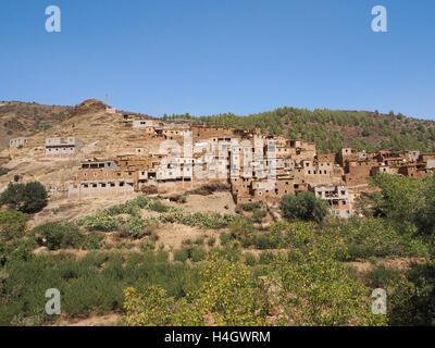 Berber village in Atlas Mountains near Ourika valley, Morocco - Stock Photo