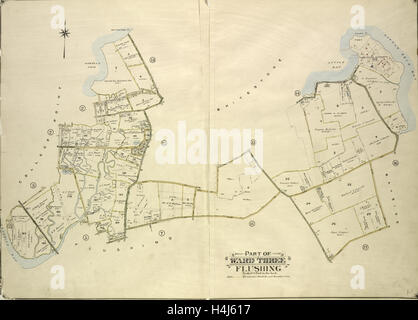 Queens, Vol. 3, Double Page Plate No. 4; Part of ward Three College Point. Map bounded by 11th Ave., 10th Ave., - Stock Photo