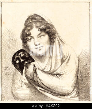 Baron Dominique Vivant Denon, French (1747-1825), Girl with a Mask, 1820, lithograph - Stock Photo