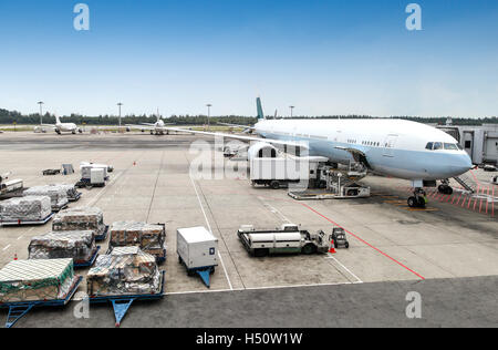 A commercial aircraft being serviced at the terminal of an international airport. - Stock Photo
