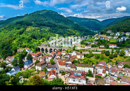 View of Hornberg village in Schwarzwald mountains - Baden Wurttemberg, Germany - Stock Photo