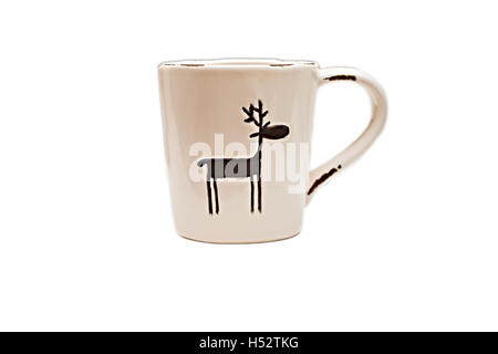 Christmas cup with reindeer isolated. - Stock Photo