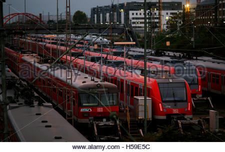 Regional trains of German railway Deutsche Bahn are seen at a depot near Frankfurt's main railway station October - Stock Photo