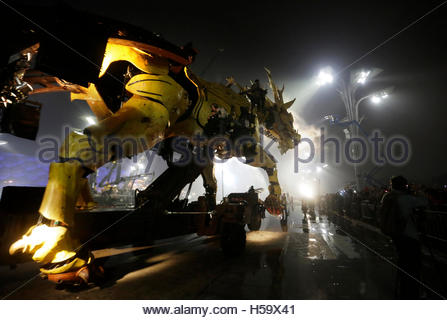 A mechanical installation named 'Long Ma' makes its way during the Long Ma performance in front of the National - Stock Photo