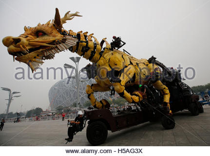 A mechanical installation named 'Long Ma' is operated at a rehearsal of the Long Ma performance in front of the - Stock Photo