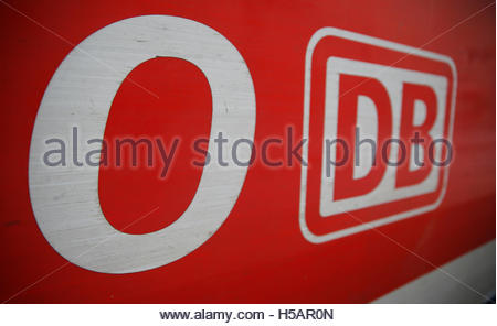 The logo of the German railways, Deutsche Bahn (DB) is seen on a regional  train at the railways station of the - Stock Photo