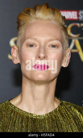 Hollywood, USA. 20th Oct, 2016. Tilda Swinton at the World premiere of 'Doctor Strange' held at the El Capitan Theatre - Stock Photo