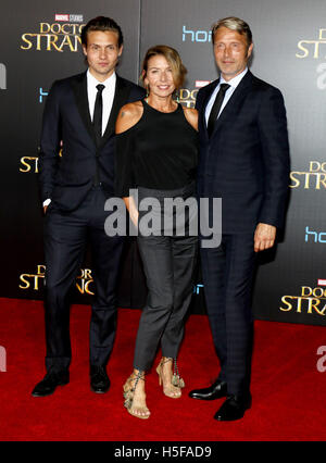 Hollywood, USA. 20th Oct, 2016. Hanne Jacobsen and Mads Mikkelsen at the World premiere of 'Doctor Strange' held - Stock Photo