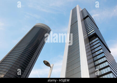 Two skyscrapers view from below in Madrid skyline. Horizontal - Stock Photo