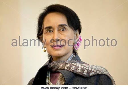 Myanmar pro-democracy leader Aung San Suu Kyi visits at Bellevue presidential palace in Berlin April 10, 2014.  - Stock Photo