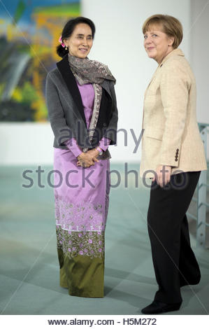 Myanmar pro-democracy leader Aung San Suu Kyi meets German Chancellor Angela Merkel at the Chancellery in Berlin - Stock Photo