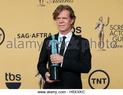 Actor William H. Macy holds his award for Outstanding Performance by a Male Actor in a Comedy Series for his role - Stock Photo