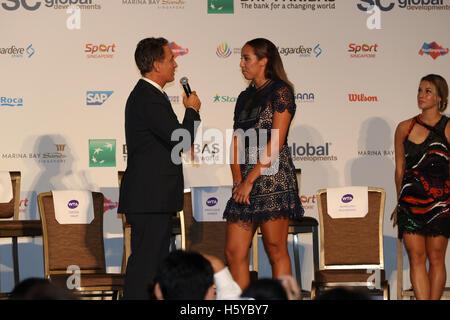 Kallang, Singapore. 21st Oct, 2016. BNP Paribas WTA Finals Women Tennis Association - MADISON KEYS AT THE DRAW CEREMONY - Stock Photo