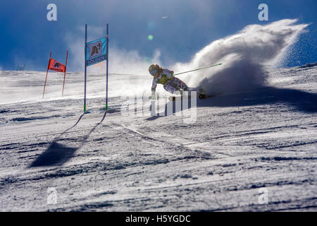Solden, Austria. 22nd Oct, 2016. Stephanie Brunner of Austria competes during the first run of FIS World Cup Ladies - Stock Photo