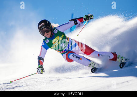Solden, Austria. 22nd Oct, 2016. Lara Gut of Switzerland competes during the first run of FIS World Cup Ladies Giant - Stock Photo
