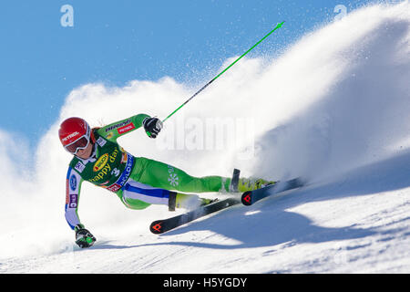 Solden, Austria. 22nd Oct, 2016. Ana Drev of Slovenia competes during the first run of FIS World Cup Ladies Giant - Stock Photo