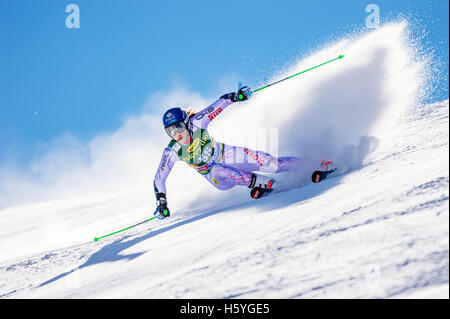 Solden, Austria. 22nd Oct, 2016. Petra Vlhova of Slovakia competes during the first run of FIS World Cup Ladies - Stock Photo