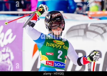 Solden, Austria. 22nd Oct, 2016. Lara Gut of Switzerland celebrates in the finish area of the second run of FIS - Stock Photo