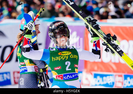 Solden, Austria. 22nd Oct, 2016. Lara Gut of Switzerlandcelebrates after winning the FIS World Cup Ladies Giant - Stock Photo
