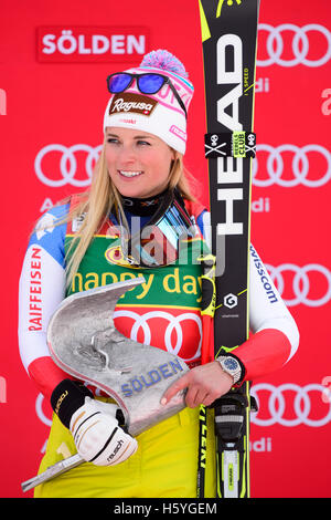 Solden, Austria. 22nd Oct, 2016. Lara Gut of Switzerland looks on on the podium of the FIS World Cup Ladies Giant - Stock Photo