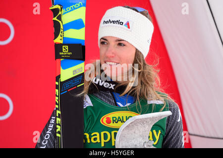 Solden, Austria. 22nd Oct, 2016. Marta Bassino of Italy looks on on the podium of the FIS World Cup Ladies Giant - Stock Photo