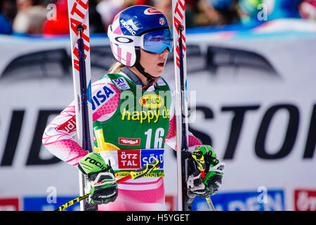 Solden, Austria. 22nd Oct, 2016. Mikaela Shiffrin of of USA looks on in the finish area of the FIS World Cup Ladies - Stock Photo