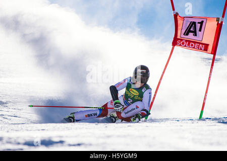 Solden, Austria. 22nd Oct, 2016. Lara Gut of Switzerland competes during the first run of the FIS World Cup Ladies - Stock Photo