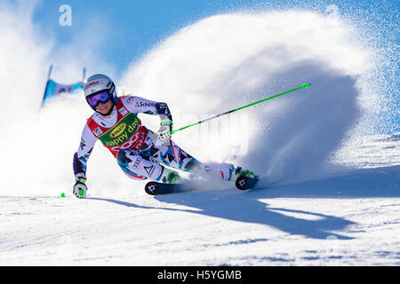Solden, Austria. 22nd Oct, 2016. Eva-Maria Brem of Austria competes during the first run of the FIS World Cup Ladies - Stock Photo