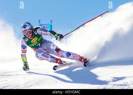 Solden, Austria. 22nd Oct, 2016. Tina Weirather of Liechtenstein competes during the first run of the FIS World - Stock Photo