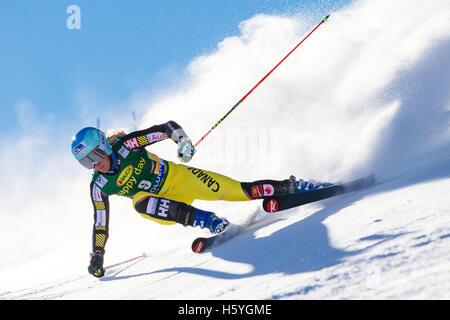 Solden, Austria. 22nd Oct, 2016. Marie-Michele Gagnon of Canada competes during the first run of the FIS World Cup - Stock Photo